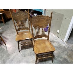 2 ANTIQUE OAK PRESSBACK CHAIRS