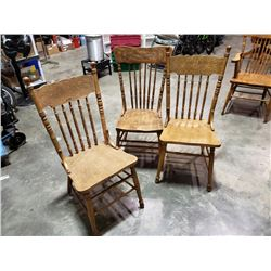 3 ANTIQUE OAK PRESSBACK CHAIRS