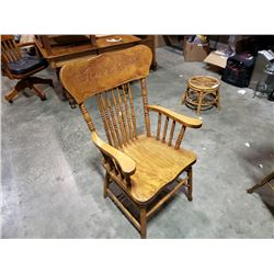 ANTIQUE OAK PRESSBACK ARMCHAIR