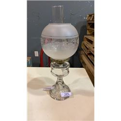 PEDESTAL OIL LAMP WITH GLASS GLOBE