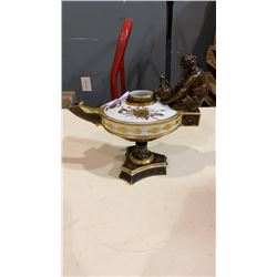 EUROPEAN PORCELAIN URN - HAND PAINTED LAMP STYLE