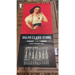 "22 x 46 INCH 1949 CALENDAR ""ONLY A ROSE"" - ONLY JANUARY"
