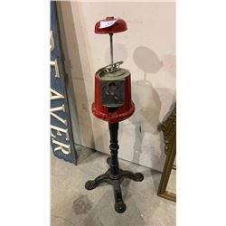 METAL CANDY DISPENSER ON STAND - NO GLASS