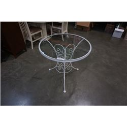WHITE METAL BASE GLASSTOP TABLE