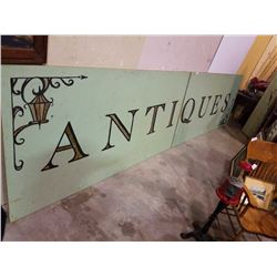 LARGE 2 PIECE WOOD ANTIQUES SIGN - APPROX 16 FOOT BY 4 FOOT - gold leaf paint, indoor sign