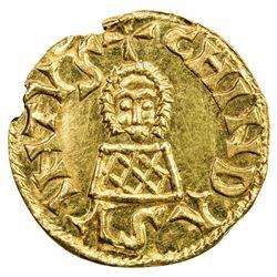 VISIGOTHS IN SPAIN: Chindasvinto, 642-653, AV tremissis (1.39g), Emerita (Merida). AU