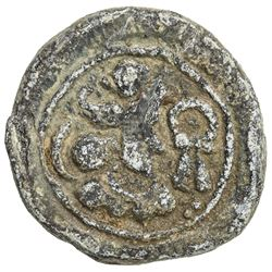 SASANIAN KINGDOM: Varhran IV, 388-399, lead 15mm (3.41g). VF