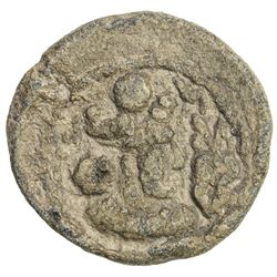 SASANIAN KINGDOM: Varhran IV, 388-399, lead 17mm (2.91g). VF