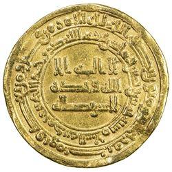 ABBASID: al-Mu'tadid, 892-902, AV dinar (4.08g), Madinat al-Salam, AH285. VF