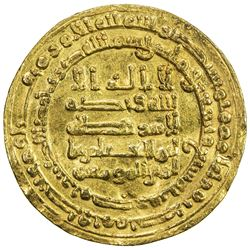 ABBASID: al-Muqtadir, 908-932, AV dinar (4.04g), Misr, AH297. VF