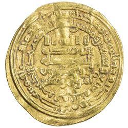 ABBASID: al-Muqtadir, 908-932, AV dinar (3.83g), Qumm, AH297. F-VF