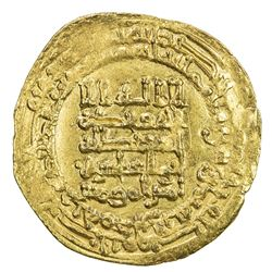 ABBASID: al-Muqtadir, 908-932, AV dinar (4.20g), Hamadan, AH318. VF-EF