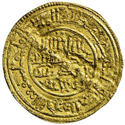 TAIFAS AFTER THE ALMORAVIDS: Anonymous, 1146-1155, AV dinar (3.80g), NM, AH556. EF