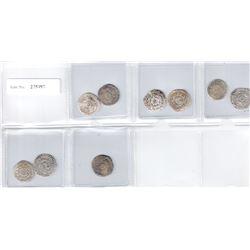 FATIMID: LOT of 9 silver half dirhams