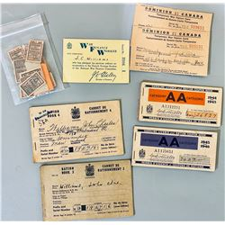 CDN WAR TIME RATION BOOKS - MANY WITH FOOD & GAS STAMPS