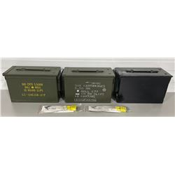 LOT OF 3 METAL AMMO BOXES & 2 X CABLE LOCKS - NEW