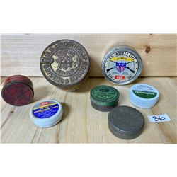 LOT OF VINTAGE CAPS TINS W/ SOME CONTENTS
