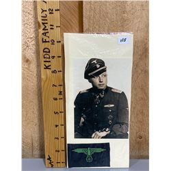 WAFFEN SS OFFICER PHOTO & CAP EAGLE - COPIES