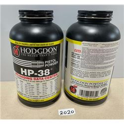 2 X 1 LB BOTTLE HODGDON HP-38 POWDER - AS NEW