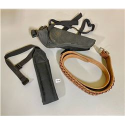 LEATHER AMMO BELT & CANVAS HOLSTER / SLING