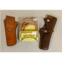 2 X LEATHER HOLSTER & NEW SLING