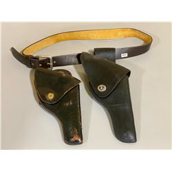 """40"""" LEATHER HOLSTER BELT & 2 X HOLSTERS"""