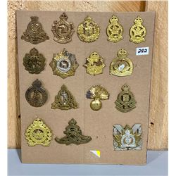 LOT OF 16 X WWII CND CAP BADGES