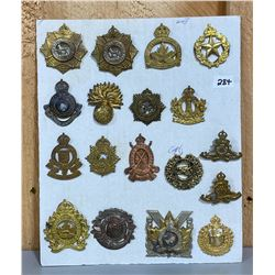 LOT OF 18 WWII CND CAP BADGES