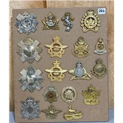 LOT OF 18 POST 1953 CND REG CAP BADGES