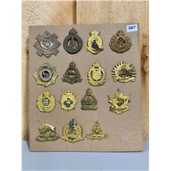 LOT OF 15 WWII CND REG CAP BADGES W/ LUGS