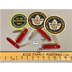 LOT OF 4 SWISS ARMY POCKET KNIVES & 3 VINTAGE TORONTO SHOOTING CRESTS