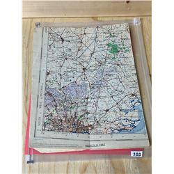 "WWII LINEN RAF MAP - 26"" X 37"""