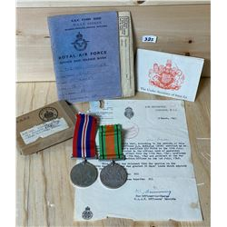 WWII RAF OFFICERS COLLECTIBLES - MEDALS, SER BOOK, LETTER