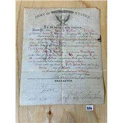 1870 US ARMY DISCHARGE CERTIFICATE