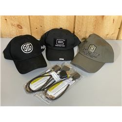 LOT OF 3 GLOCK / SIG / HORNADY HATS & 4 CABLE LOCKS