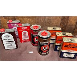 8 X POWDER TINS, SOME WITH CONTENTS