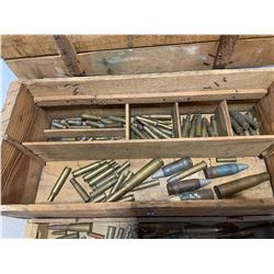 WOODEN BOX WITH QUANTITY OF MIXED COLLECTIBLE AMMO