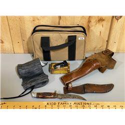 JOB LOT-SOFT HANDGUN CASE, LONG GUN SOCK, LEATHER HOLSTER, NCSTAR ATPLS SIGHT, WESTERN HUNTING KNIFE