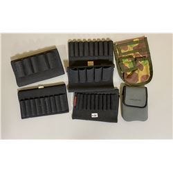 LOT OF 2 AMMO POUCHES & 5 BUTTSTOCK SHELL HOLDERS