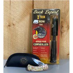 FRANKLIN MINT POCKET KNIFE & BUCK EXPERT CROW CALL
