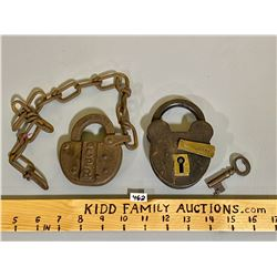 LOT OF 2 ANTIQUE PADLOCKS