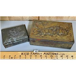 LOT OF 2 BRASS & WOOD BOXES