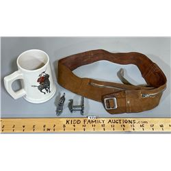 MOUNTIE MUG, LEATHER BELT, WALL HOOKS W/EAGLE DESIGN