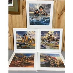 "LOT OF 5 1995 MILITARY PRINTS BY DAVID CRAIG  - BRADFORD EXCHANGE - 18"" SQ"