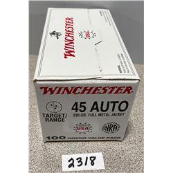 AMMO: 100 WINCHESTER 45 AUTO 230 GRAIN FMJ  SEALED BOX