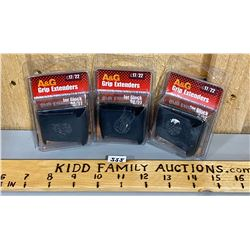 LOT OF 3 GRIP EXTENDERS FOR GLOCK 26/27 - NEW