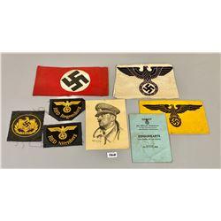 LOT OF GERMAN ARMBANDS, CRESTS,  1944 ID CARD & POSTCARD