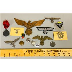 LOT OF GERMAN IRON EAGLE PINS, MEDALS, CRESTS