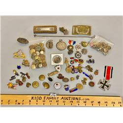 LARGE QTY OF MISC PINS & BUTTONS & MEDALS