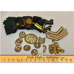 QTY OF CND CRESTS, EPAULETTS, BUTTONS
